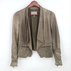 Leather Open Crop Lined Leather Chic Moto Jacket